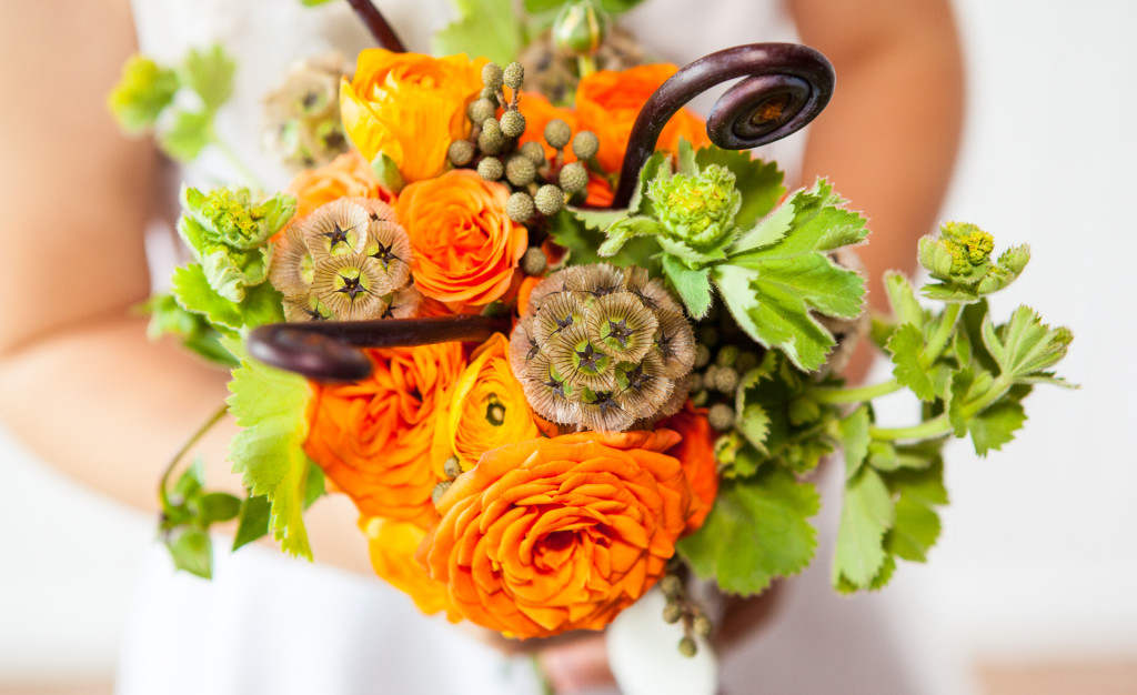Beautiful green and orange bridal bouquet by Stem Designs in Salem, Oregon