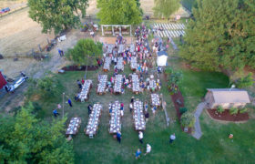 Drone wedding photo at Riverbell Farm