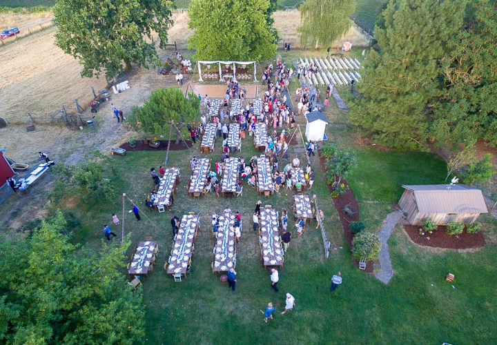 Drone wedding photo at Riverbell Farm